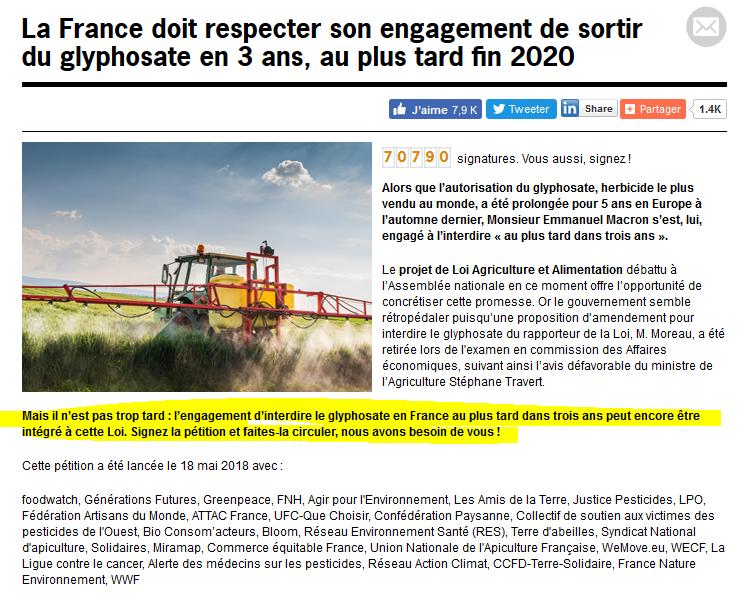 Pétition pour interdire le glyphosate en France au plus tard dans 3 ans